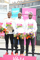 March 10, 2019 - London, United Kingdom - Mo Farrah, Wilson Kipsang and Daniel Wanjiru are seen posing with their awards after running The Vitality Big Half, which has returned for a festival of running and culture to the heart of London in a celebration of the rich and wonderful diversity of the capital city and Finishing it at Cutty Sark. (Credit Image: © Terry Scott/SOPA Images via ZUMA Wire)