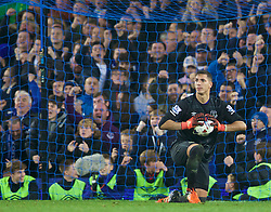 LIVERPOOL, ENGLAND - Tuesday, October 27, 2015: Everton's goalkeeper Joel Robles celebrates saving Norwich City's third penalty in the 4-3 penalty shoot-out victory after a 1-1 draw with Norwich City during the Football League Cup 4th Round match at Goodison Park. (Pic by David Rawcliffe/Propaganda)