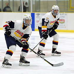 WELLINGTON, ON - SEPTEMBER 14: Madoka Suzuki #17 of the Wellington Dukes and Frank Vitucci #11 of the Wellington Dukes pursues the play 3p= on September 14, 2018 at Wellington and District Community Centre in Wellington, Ontario, Canada.<br /> (Photo by Ed McPherson / OJHL Images)