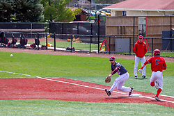 NORMAL, IL - April 08: Joe Butler beats the throw to 1st baseman Ben Whetstone during a college baseball game between the ISU Redbirds  and the Missouri State Bears on April 08 2019 at Duffy Bass Field in Normal, IL. (Photo by Alan Look)