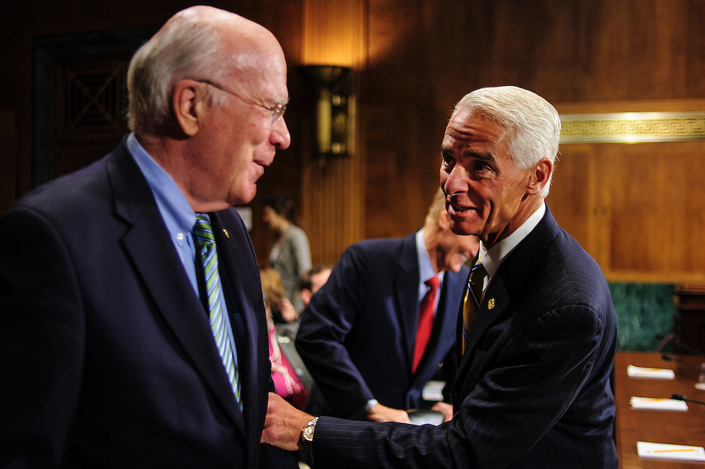 "Former Florida Governor CHARLIE CRIST meets with Senator and Committee Chairman PATRICK LEAHY (D-VT) before testifying at a Senate Judiciary Committee hearing on Captiol Hill Wednesday about ""The State Of The Right To Vote After The 2012 Election."" The hearing focused on American's access to the voting booth and the continuing need for protections against efforts to limit or suppress voting."