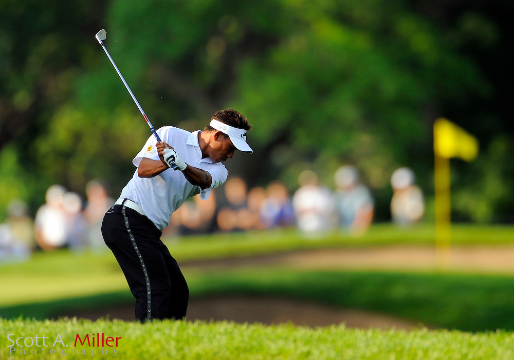 Aug 13, 2009; Chaska, MN, USA; Thongchai Jaidee hits out of the bunker during the first round of the 2009 PGA Championship at Hazeltine National Golf Club.  ©2009 Scott A. Miller