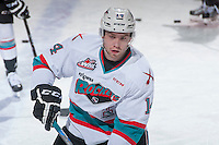 KELOWNA, CANADA - MARCH 25: Rourke Chartier #14 of Kelowna Rockets warms up against the Kamloops Blazers on March 25, 2016 at Prospera Place in Kelowna, British Columbia, Canada.  (Photo by Marissa Baecker/Shoot the Breeze)  *** Local Caption *** Rourke Chartier;