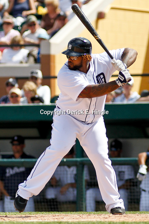 March 14, 2012; Lakeland, FL, USA; Detroit Tigers first baseman Prince Fielder (28) at bat during the bottom of the fifth inning of a spring training game against the New York Mets at Joker Marchant Stadium. Mandatory Credit: Derick E. Hingle-US PRESSWIRE
