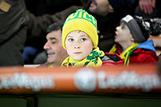 A young Norwich City fan during the The FA Cup 3rd round match between Norwich City and Portsmouth at Carrow Road, Norwich, England on 5 January 2019.