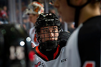 KELOWNA, BC - NOVEMBER 8: Teague Patton #39 of the Medicine Hat Tigers stands at the bench during a time out on his first WHL career game against the Kelowna Rockets  at Prospera Place on November 8, 2019 in Kelowna, Canada. (Photo by Marissa Baecker/Shoot the Breeze)