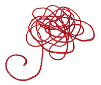 red kabbalah string pile photographed on a white background