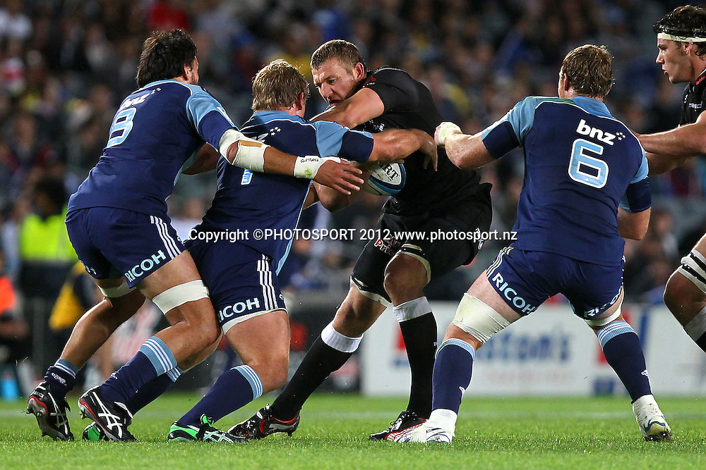 Sharks' Jean Deysel runs into Blues' defence. Super Rugby rugby union match, Blues v Sharks at Eden Park, Auckland, New Zealand. Friday 13th April 2012. Photo: Anthony Au-Yeung / photosport.co.nz