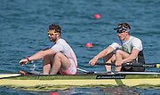 Caversham. Reading,  Men's Pair,  Time Trial, Bow, William WARR and George ROSSITER, competing at the  GBRowing Team Trials, 18.04.2015. [Mandatory Credit: Peter Spurrier/Intersport-images.com .   Empacher.