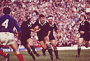 New Zealand vs France. Gary Whetton on the charge with Haden, H Knight and A Donaldson around him. Date Uknown, Photo: Norman Smith.