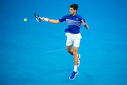 January 27, 2019 - Melbourne, VIC, U.S. - MELBOURNE, AUSTRALIA - JANUARY 27 : Novak Djokovic of ÊSerbia returns the ball during the final on day 14 of the Australian Open on January 27 2019, at Melbourne Park in Melbourne, Australia.(Photo by Jason Heidrich/Icon Sportswire) (Credit Image: © Jason Heidrich/Icon SMI via ZUMA Press)