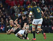 JOHANNESBURG, South Africa, 25 July 2015 : Schalk Burger (C) of the Springboks is tackled by Kieran Read and Richie McCaw (C) of the All Blacks during the Castle Lager Rugby Championship test match between SOUTH AFRICA and NEW ZEALAND at Emirates Airline Park in Johannesburg, South Africa on 25 July 2015. Bokke 20 - 27 All Blacks<br /> <br /> © Anton de Villiers / SASPA