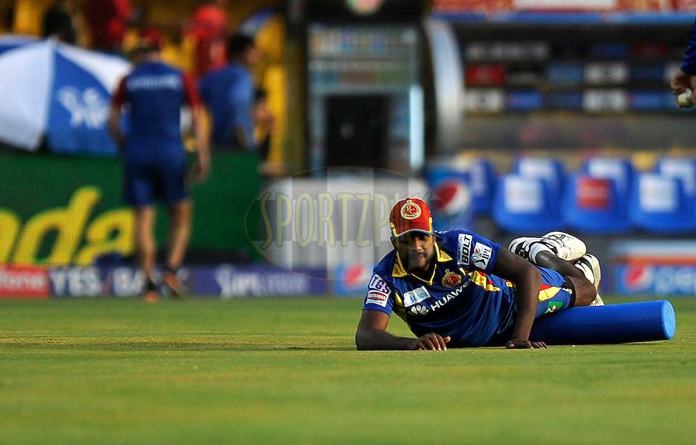 Varun Aaron of Royal Challengers Bangalore during a practice session before the start of match 22 of the Pepsi IPL 2015 (Indian Premier League) between The Rajasthan Royals and The Royal Challengers Bangalore held at the Sardar Patel Stadium in Ahmedabad , India on the 24th April 2015.<br /> <br /> Photo by:  Pal Pillai / SPORTZPICS / IPL