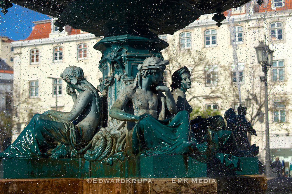 Detail of one of the Twin Fountains in Rossio Square, Lisbon.