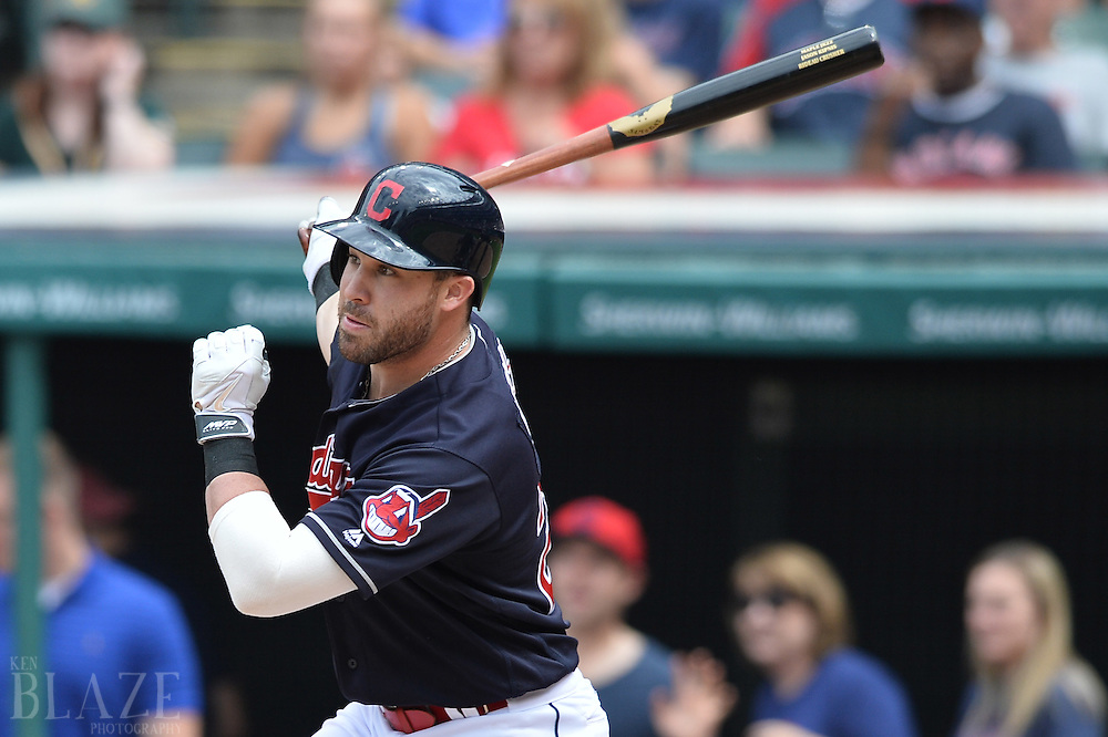 Jul 31, 2016; Cleveland, OH, USA; Cleveland Indians second baseman Jason Kipnis (22) hits a sacrifice fly during the fourth inning against the Oakland Athletics at Progressive Field. Mandatory Credit: Ken Blaze-USA TODAY Sports