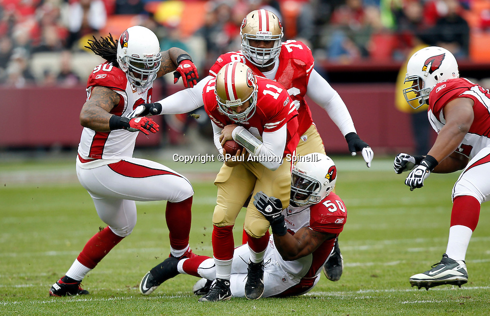 San Francisco 49ers quarterback Alex Smith (11) gets gang tackled by Arizona Cardinals linebacker O'Brien Schofield (50) and Arizona Cardinals defensive tackle Darnell Dockett (90) during the first quarter of the NFL week 17 football game against the Arizona Cardinals on Sunday, January 2, 2011 in San Francisco, California. The 49ers won the game 38-7. (©Paul Anthony Spinelli)