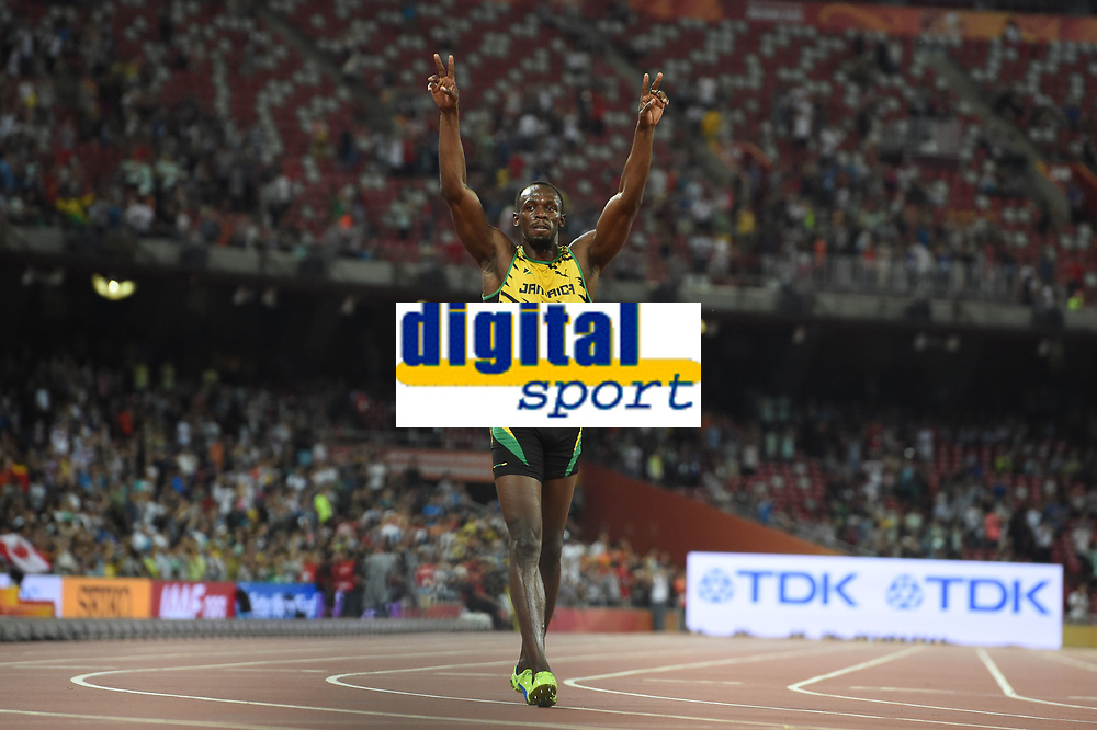 Usain Bolt (JAM) competes and wins the Gold Medal on Men's 100 m Final during the IAAF World Championships, Beijing 2015, at the National Stadium, in Beijing, China, Day 2, on August 23, 2015 - Photo Stephane Kempinaire/ KMSP / DPPI
