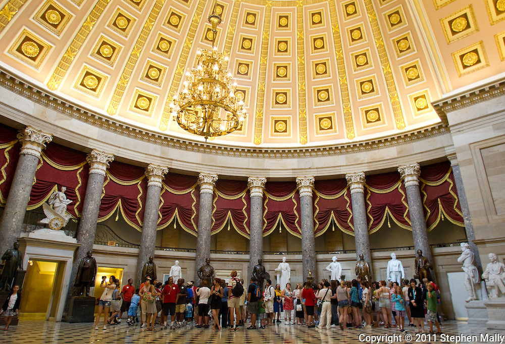 The Samuel Jordan Kirkwood statue (second bronze statue on right) in National Statuary Hall in the United States Capitol building in Washington, D.C. on Thursday, June 23, 2011.