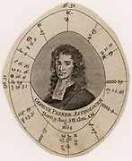 George Parker (1651-1743) English almanac maker, astrologer and quack. Parker's birth chart or Nativity. Engraving c1800.