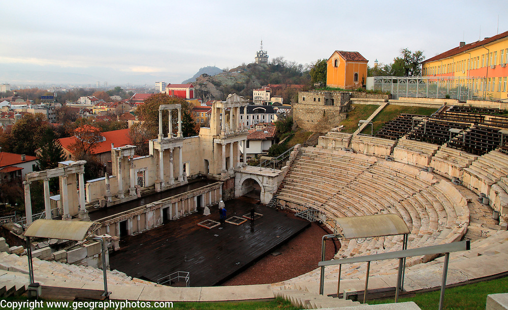 Roman amphitheatre in Plovdiv, Bulgaria, eastern Europe
