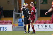 Bradford City defender Stephen Darby (2)  is booked and receives a caution and a yellow card  during the Sky Bet League 1 match between Bradford City and Millwall at the Coral Windows Stadium, Bradford, England on 26 March 2016. Photo by Simon Davies.