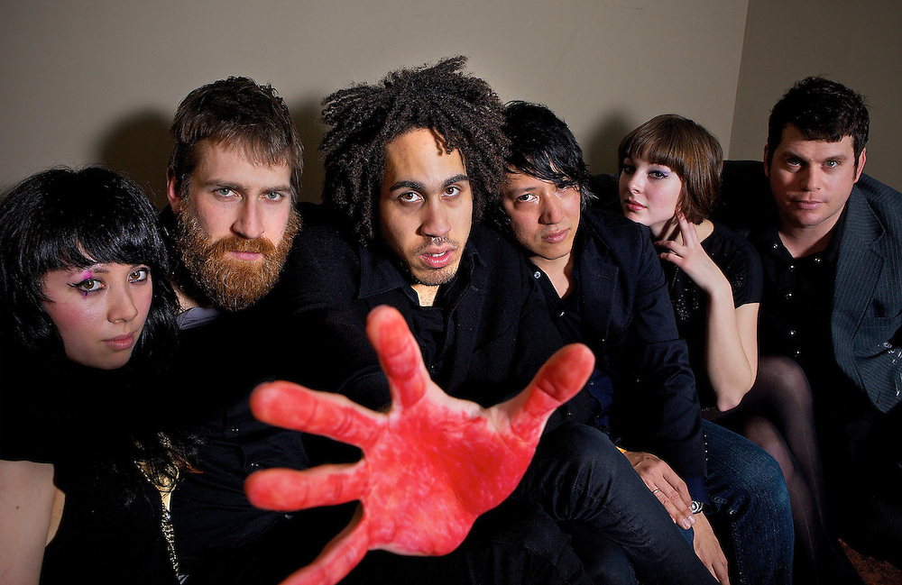 NEW YORK - FEBRUARY 27:  (L to R) Destiny Montague, Eric Rodgers, Autry Fulbright, Miyuki Furtado, Giselle Reiber and Jason Reece of Midnight Masses pose for a portrait backstage at the Music Hall of Williamsburg on February 27, 2009 in New York City.  (Photo by Roger Kisby)