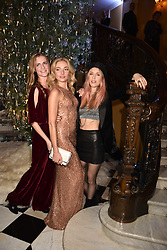 Chloe Delevingne, Clara Paget and Lady Mary Charteris at reception to celebrate the launch of the Claridge's Christmas Tree 2017 at Claridge's Hotel, Brook Street, London England. 28 November 2017.<br /> Photo by Dominic O'Neill/SilverHub 0203 174 1069 sales@silverhubmedia.com