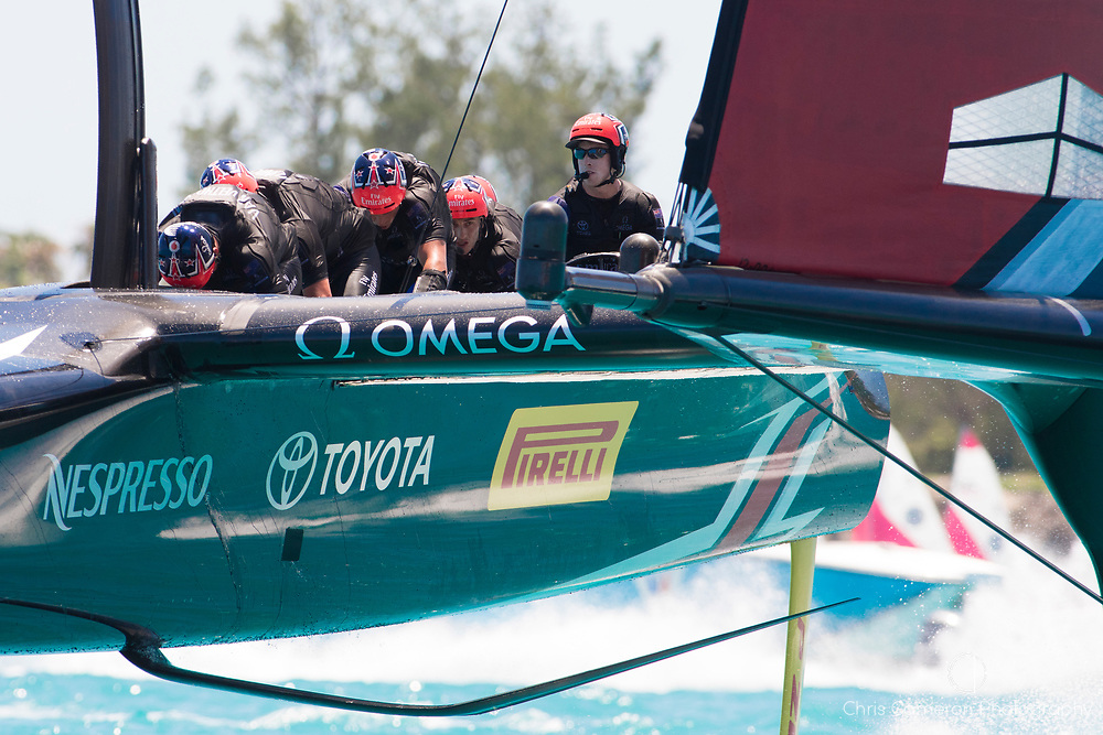 The Great Sound, Bermuda, 18th June. Emirates Team New Zealand win race three on day two of the America's Cup.