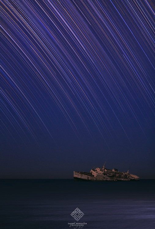 Under the moonlight, I have capture this shipwreck, which was settle on the red sea. The scene was awesome with framing of stars.