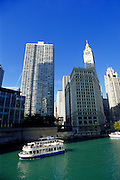 Image of the Chicago River along the Magnificent Mile, Chicago, Illinois, American Midwest