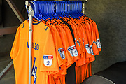 """The Oldham Athletic  team shirts  showing """"Sky Bet"""" and """"EFL"""" branding during the EFL Sky Bet League 1 match between Northampton Town and Oldham Athletic at Sixfields Stadium, Northampton, England on 5 May 2018. Picture by Dennis Goodwin."""