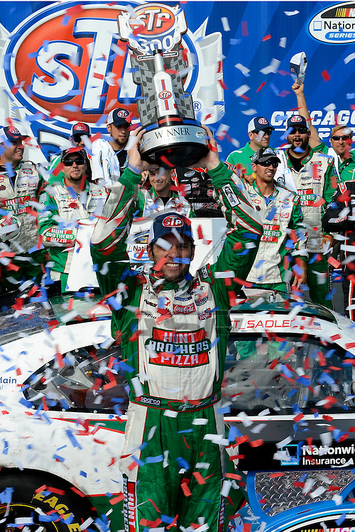 Joliet,Il - JUL 22, 2012: Elliot Sadler (2) wins the STP 300 at Chicagoland Speedway in Joliet, Il.