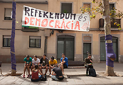 © Licensed to London News Pictures. 26/04/2016. BARCELONA, SPAIN.  <br /> Families and friends occupy local schools that will be used as polling  stations for the independence referendum that is set to take place on Sunday 1st October 2017. The government have told the police to close down the schools at 0600 hours on the 1st October.  The Spanish government have deemed the referendum illegal and against the constitution of Spain.<br /> Photo credit: RICH BOWEN/ LNP