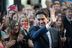 © Licensed to London News Pictures . 21/04/2015 . Manchester , UK . Ed Miliband arrives to deliver a speech and Q&A at Manchester Metropolitan University's Brooks Building . Photo credit : Joel Goodman/LNP