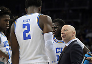 Nov 15, 2019; Los Angeles, CA, USA; UCLA Bruins head coach Mick Cronin stares at forward Cody Riley (2)  in the first half against the UNLV Rebels at Pauley Pavilion. UCLA defeated UNLV 71-54.