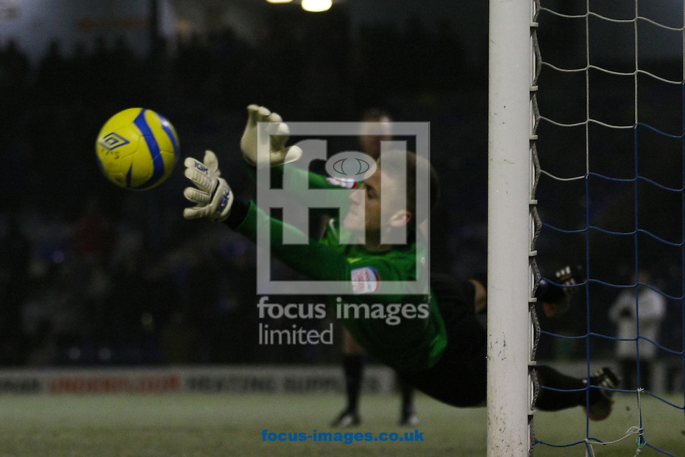 Picture by David Horn/Focus Images Ltd +44 7545 970036.11/12/2012.Daniel Bentley of Southend United saves a penalty during a penalty shoot out during the The FA Cup match at Roots Hall, Southend.