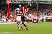 Brentford Midfielder Florian Jozefzoon (7) takes the ball under control during the EFL Sky Bet Championship match between Brentford and Queens Park Rangers at Griffin Park, London, England on 21 April 2018. Picture by Andy Walter.