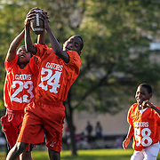 "Justin Lindsey, 10, (left) and Brozlyn Owens, 12, reach for a tossed ball as Kenneth Boose, 9, (far right) looks on during youth football practice at Sacks Field in Garfield Park, Wednesday, July 19, 2013. The team, named the Gators, will participate in Saturday's ""Silence the Violence"" sports camp, hosted by several Chicago Bears.  