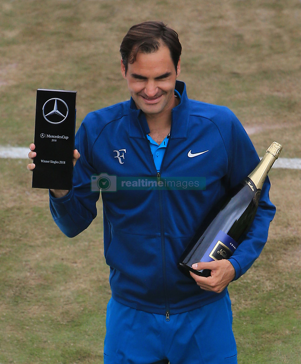 STUTTGART, June 17, 2018  Roger Federer of Switzerland poses with the trophy after the singles final against Milos Raonic of Canada at ATP Mercedes Cup tennis tournament in Stuttgart, Germany on June 17, 2018. Roger Federer won 2-0 to claim the title. (Credit Image: © Philippe Ruiz/Xinhua via ZUMA Wire)