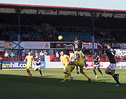 21st April 2018, Dens Park, Dundee, Scotland; Scottish Premier League football, Dundee versus St Johnstone; Sofien Moussa of Dundee scores for 2-1