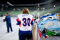 Robert Kristan of Slovenia during first practice session of Slovenian National Ice Hockey team in Arena Stozice before 2012 IIHF World Championship DIV I Group A in Slovenia, on April 13, 2012, in Arena Stozice, Ljubljana, Slovenia. (Photo by Vid Ponikvar / Sportida.com)