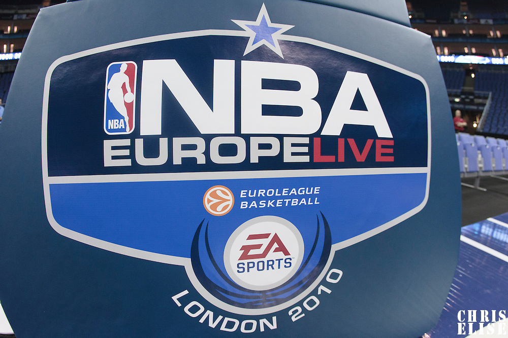 04 October 2010: The NBA Europe Live logo is seen on a basket in London during the Minnesota Timberwolves 111-92 victory over the Los Angeles Lakers, during 2010 NBA Europe Live, at the O2 Arena in London, England.