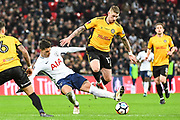 Tottenham Hotspur Midfielder Erik Lamela (11) and Newport County Defender Scot Bennett (17) battle for the ball during the The FA Cup 4th round replay match between Tottenham Hotspur and Newport County at Wembley Stadium, London, England on 7 February 2018. Picture by Stephen Wright.