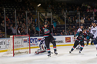 KELOWNA, CANADA - OCTOBER 13: Leif Mattson #28 of the Kelowna Rockets celebrates a second period goal against the Tri-City Americans  on October 13, 2018 at Prospera Place in Kelowna, British Columbia, Canada.  (Photo by Marissa Baecker/Shoot the Breeze)  *** Local Caption ***