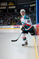KELOWNA, CANADA - MARCH 10: Dillon Dube #19 of the Kelowna Rockets enters the ice for second period against the Vancouver Giants on March 10, 2017 at Prospera Place in Kelowna, British Columbia, Canada.  (Photo by Marissa Baecker/Shoot the Breeze)  *** Local Caption ***