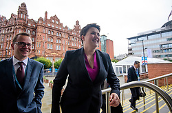 © Licensed to London News Pictures. 01/10/2017. Manchester, UK. Scottish conservative leader RUTH DAVIDSON (centre) is seen arriving for the opening day of the Conservative Party Conference. There have been conflicts within the conservative party and government over the UK's approach to Brexit, which is expected to feature heavily at this years event. Photo credit: Ben Cawthra/LNP