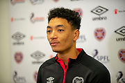 Sean Clare (#9) of Heart of Midlothian during the press conference ahead of the SPFL Premiership match between Hearts v St Mirren at Oriam Sports Performance Centre, Riccarton, Edinburgh, Scotland on 22 November 2018.