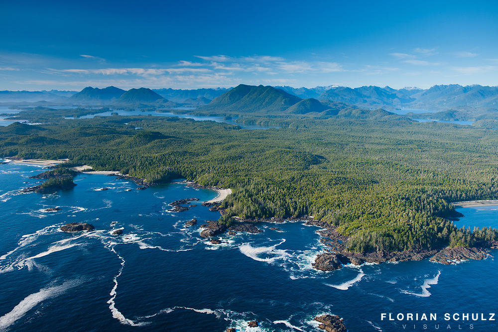 Aerial view of the coast from British Columbia, Canada.