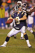 SAN DIEGO, CA - JANUARY 8:  Quarterback Drew Brees of the San Diego Chargers unloads a pass while completing 31 of 42 passes for 319 yards and 2 touchdowns against the New York Jets at Qualcomm Stadium on January 8, 2005 in San Diego, California. The Jets defeated the Chargers 20-17 in overtime in the AFC Wild Card Game. ©Paul Anthony Spinelli  *** Local Caption *** Drew Brees