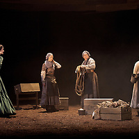 Picture shows :(l-r)  Cath Whitefield as Tottie , Nora Wardell as Ellen and Wendy Seager as Sara and Jayd Johnson as Liza.<br /> Bondagers <br /> By Sue Glover<br /> Directed by Lu Kemp<br /> &quot;Redd up the stables, muck out the byre, plant the tatties, howk the tatties, clamp the tatties... Shear, stook, striddle, stack. Women's work.&quot;<br /> A true classic of modern Scottish Theatre, and a haunting evocation of a lost way of life, Sue Glover&rsquo;s lyrical play with music and song follows six women land workers as they graft and dance their way through a year on a 19th Century Borders farm.<br /> Every ploughman had to provide a woman (a bondager) to work on the farm. If his wife was too busy with family, he hired a woman to work the fields and lodge in his home. Following these women&nbsp;through the passing of the seasons, we feel the rhythm of the land and the harshness, humour, hope and tragedy of those who worked upon it.&nbsp;<br /> Picture : Drew Farrell<br /> Tel : 07721 -735041<br /> www.drewfarrell.com<br /> <br /> <br /> For Further information please contact Michelle Mangan Press and PR Manager, Royal Lyceum Theatre Edinburgh <br /> Main Line: 0131 248 4800| Direct Line: 0131 248 4822<br /> <br /> Image is free to use in connection of the promotion of 'Bondagers' and  The Lyceum Theatre Permissions for ALL other uses needs to be sought and payment make be required.<br /> <br /> Opens at The Royal Lyceum Theatre, Edinburgh<br /> 22 October to 15 November 2014<br /> CAST <br /> Cath Whitefield - Tottie <br /> Pauline Lockhart - Maggie <br /> Wendy Seager - Sara <br /> Jayd Johnson - Liza <br /> Charlene Boyd - Jenny <br /> Nora Wardell - Ellen <br /> CREATIVE TEAM <br /> Director   Lu Kemp <br /> Designer Jamie Vartan <br /> LX Designer   Simon Wilkinson <br /> Composer/Sound Designer - Michael John McCarthy<br /> Voice - Ros Steen<br /> Lu Kemp has recently has directed Don Quixote at &Ograve;ran M&oacute;r, and Arabian Nights at the Tricycle Th